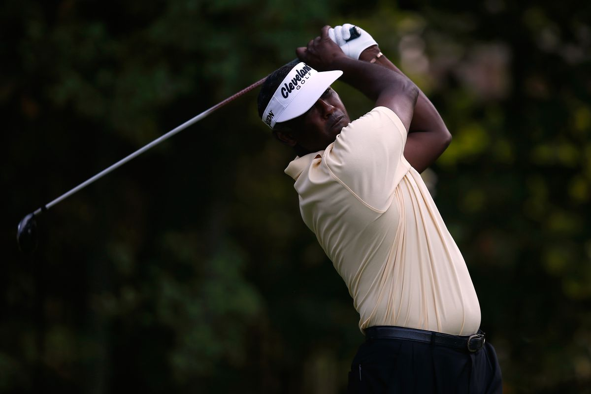 CARMEL, IN - SEPTEMBER 07:  Vijay Singh of Fiji watches his tee shot on the 12th hole during the second round of the BMW Championship at Crooked Stick Golf Club on September 7, 2012 in Carmel, Indiana.  (Photo by Scott Halleran/Getty Images)