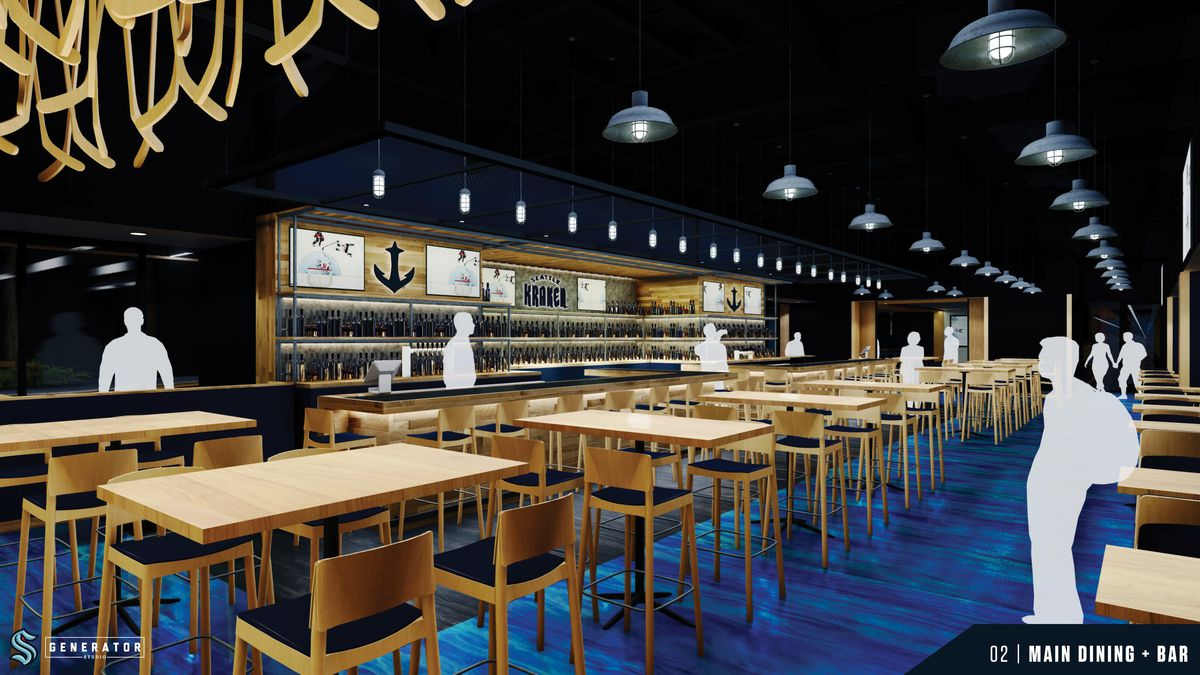 A computer rendering shows the bar at the Kraken Bar and Grill, with tables, stools, and blue carpeting; anchor-themed decor lines the back of the bar.