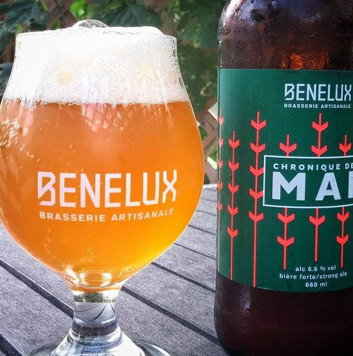 A beer in a Benelux-branded glass on a wooden table.