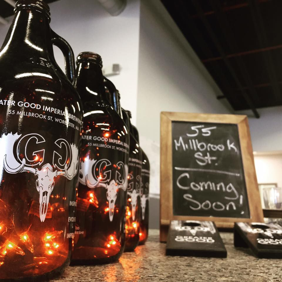 Growlers at Greater Good Imperial Brewing Company in Worcester