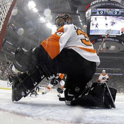 PITTSBURGH, PA - APRIL 13:  Sidney Crosby #87 of the Pittsburgh Penguins (not pictured) scores past Ilya Bryzgalov #30 of the Philadelphia Flyers in Game Two of the Eastern Conference Quarterfinals during the 2012 NHL Stanley Cup Playoffs at Consol Energy Center on April 13, 2012 in Pittsburgh, Pennsylvania.  (Photo by Justin K. Aller/Getty Images)
