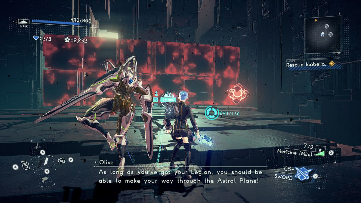 A monster with swords hands and a woman with blue hair stand in front of giant, glowing blocks