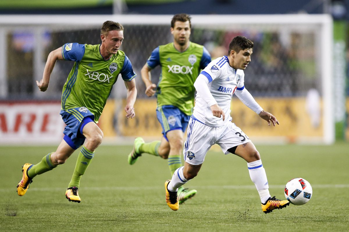 Ontivero attempts to elude defenders in IMFC's 1-0 loss to Seattle last Saturday.