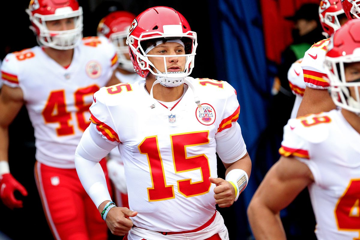 Patrick Mahomes #15 of the Kansas City Chiefs comes out onto the field prior to the game against the Buffalo Bills at Bills Stadium on October 19, 2020 in Orchard Park, New York.