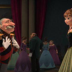 """The Duke of Weselton, left, and Anna and Elsa in """"Frozen."""""""