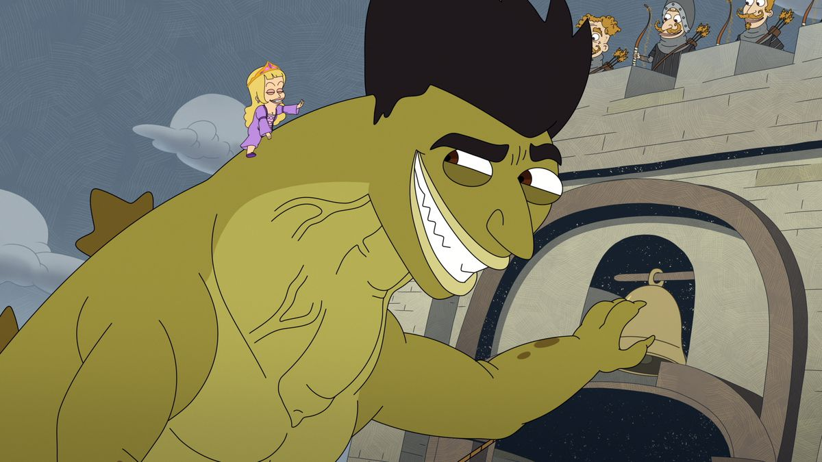Jayzilla looms over a castle wall, reaching for its bell, while his girlfriend guides him from atop his back in season 4 of Big Mouth