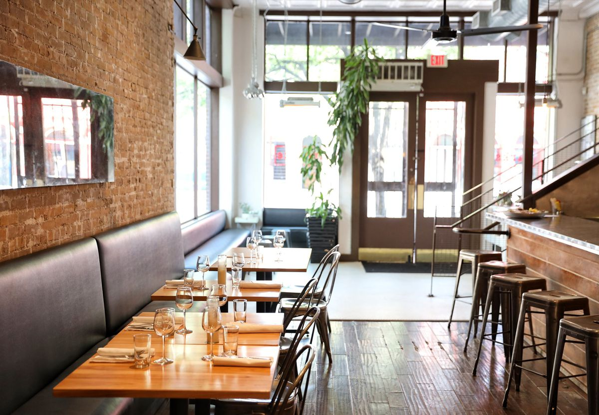 The dining room of East Sixth restaurant Parkside