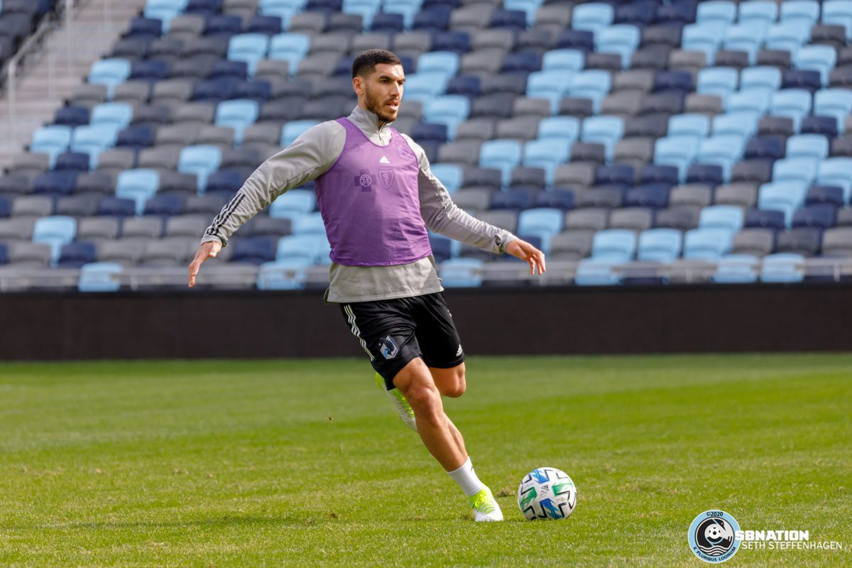 March 10, 2020 - Saint Paul, Minnesota, United States - Minnesota United defender Michael Boxall (15) kicks the ball during the Loon's first team practice at Allianz Field.