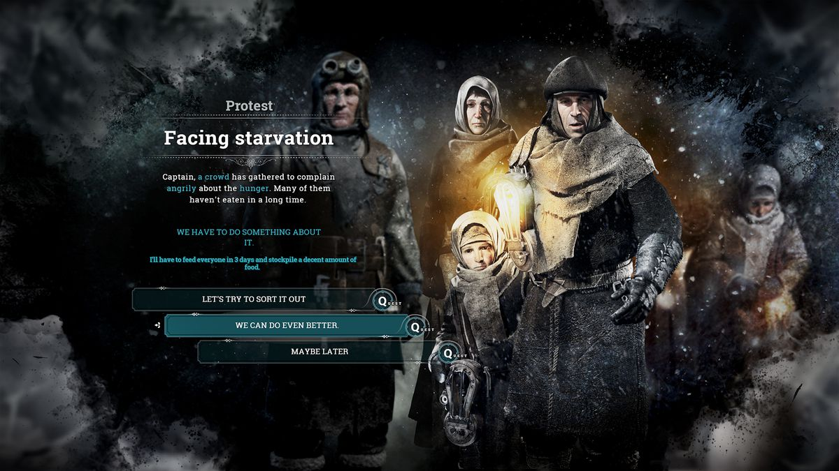 Facing starvation, the player is faced with a pivotal decision.