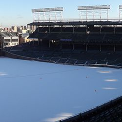 Panoramic view of Wrigley in the snow