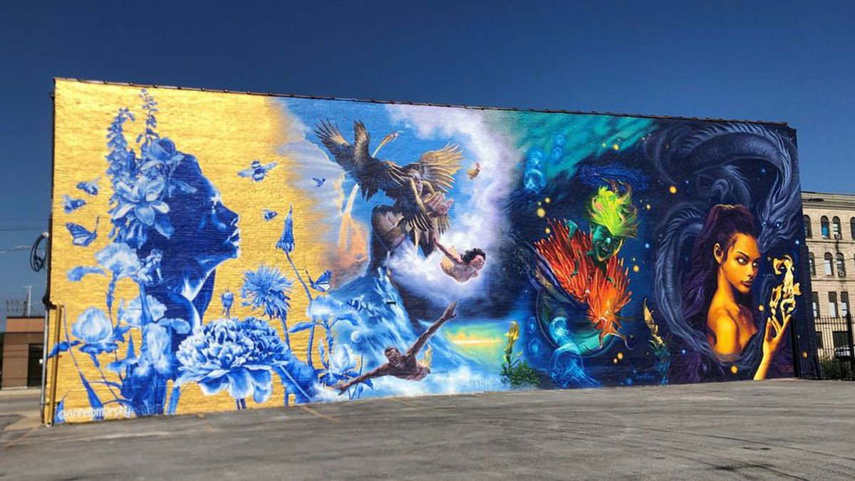 """The mural """"The Four Elements,"""" 3101 E. 92nd St., was done in May by artists Anna Murphy, Grigor Eftimov, Jesse Navarrete and Jasmina Cazacu."""