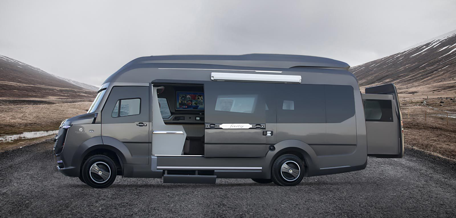 Side view of the luxury rv Finetza, with pop out bedroom area sliding out from the back of the truck.