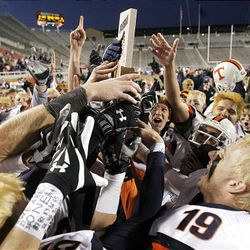 Timpview, here celebrating its 4A championship last season, will try to keep its record winning streak alive.  celebrates their win over Cottonwood for the 4A State Football Championship at Rice Eccles Stadium  November 21, 2008 Photo by Scott G. Winterton/Deseret News. Eccles at the University of Utah.