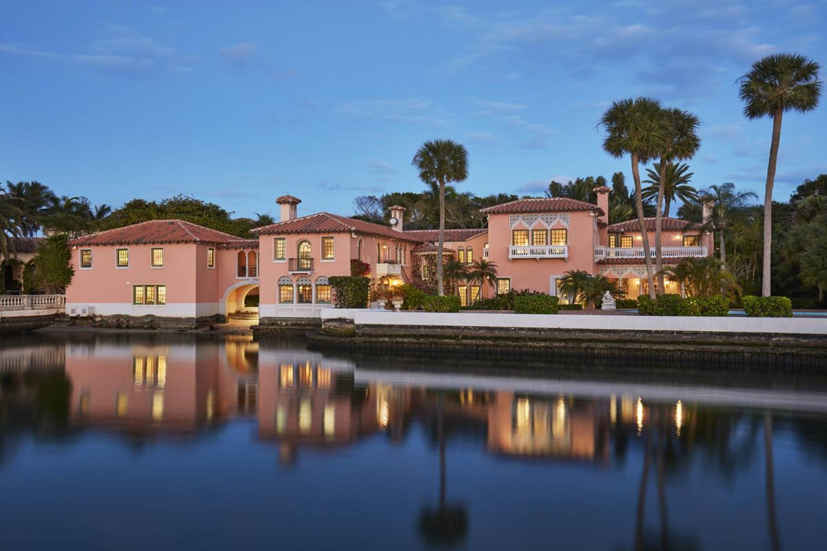 A lakefront mansion down the street from Mar-a-Lago in Palm Beach