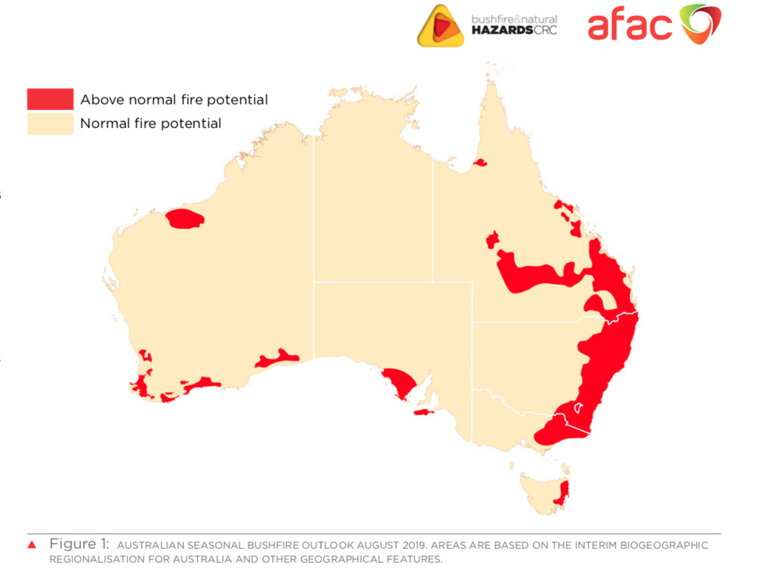 A map of bushfire risk across Australia from August 2019.