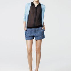 Combo cardigan, sky, $238;  sleeveless shirt, graphite, $188; combo short, turquoise, $328