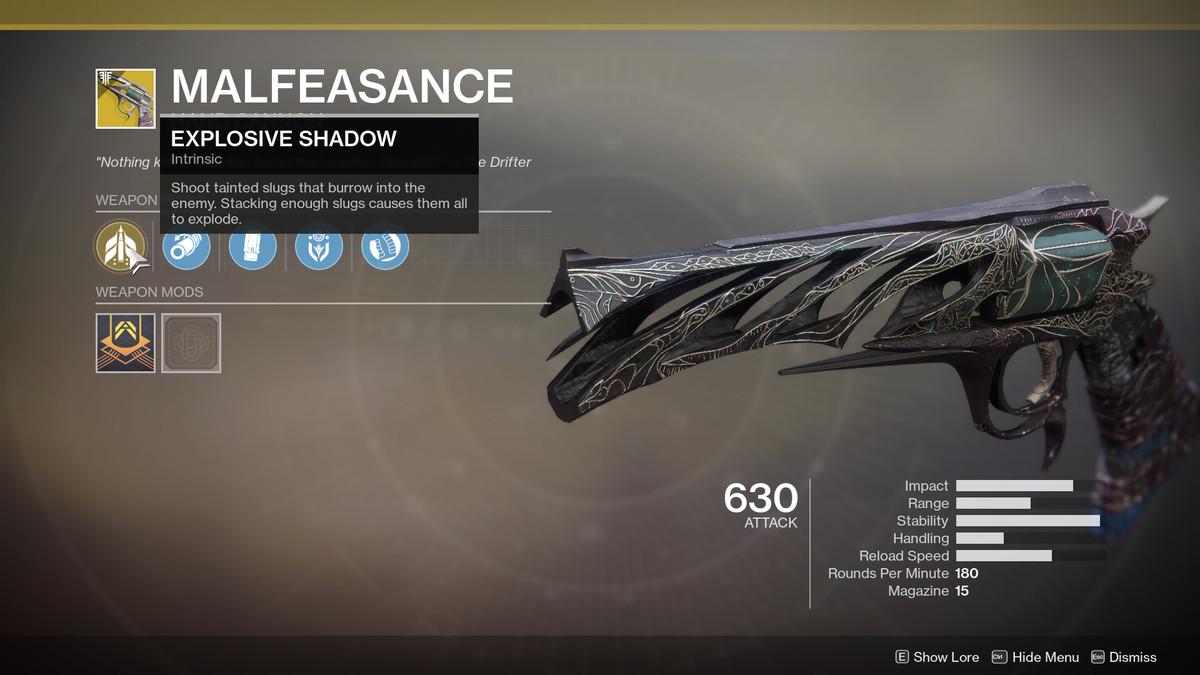 Malfeasance Exotic Destiny 2