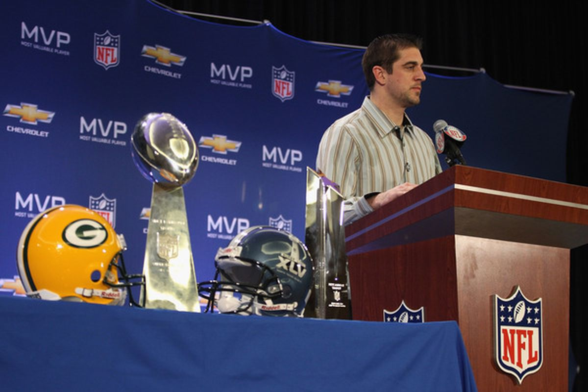 DALLAS TX - FEBRUARY 07:  Green Bay Packers quarterback Aaron Rodgers speaks to the media during a press conference at Super Bowl XLV Media Center on February 7 2011 in Dallas Texas.  (Photo by Streeter Lecka/Getty Images)