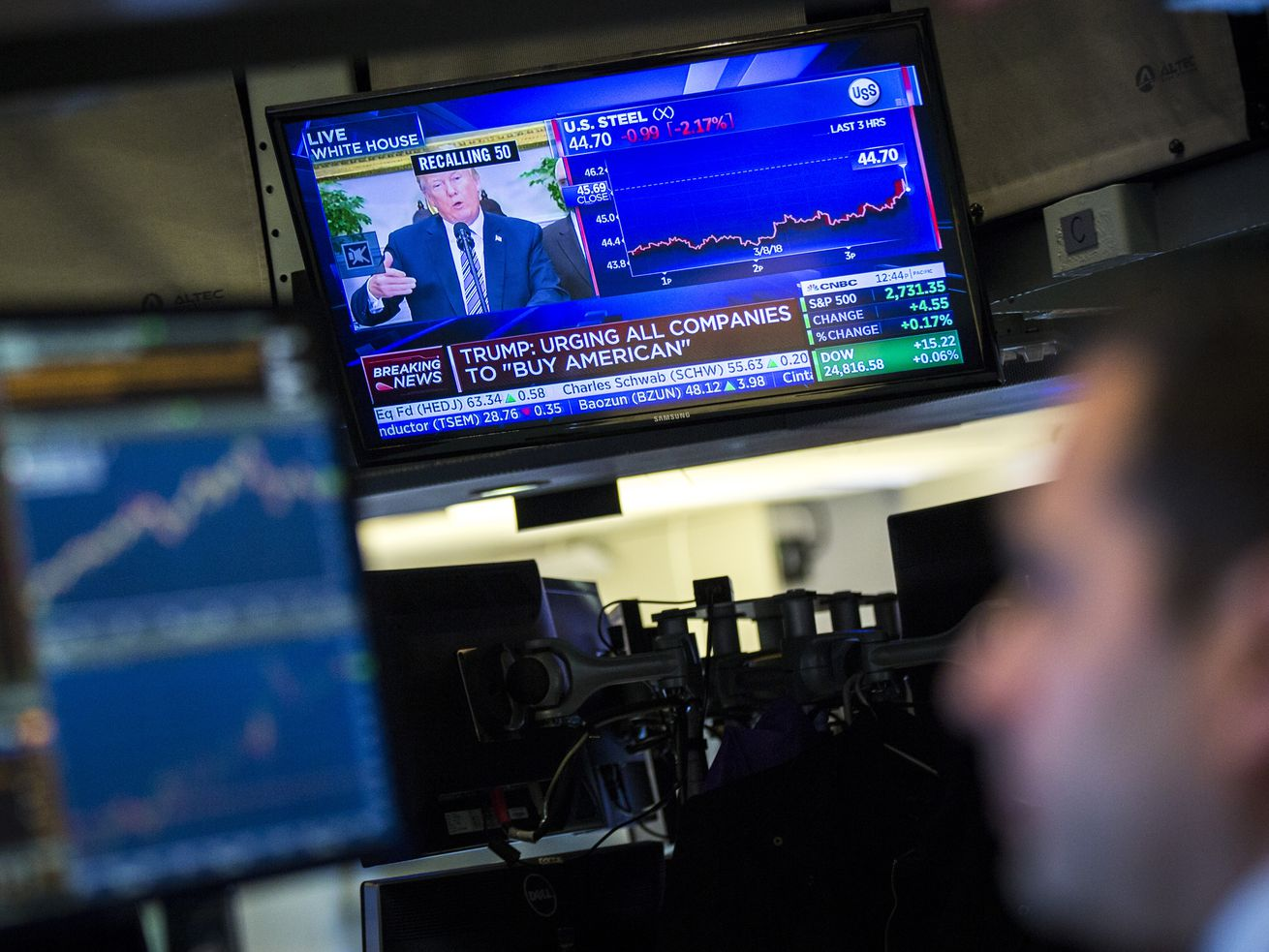 President Donald Trump is displayed on a television monitor as a trader works on the floor of the New York Stock Exchange ahead of the closing bell on March 8, 2018 in New York City.
