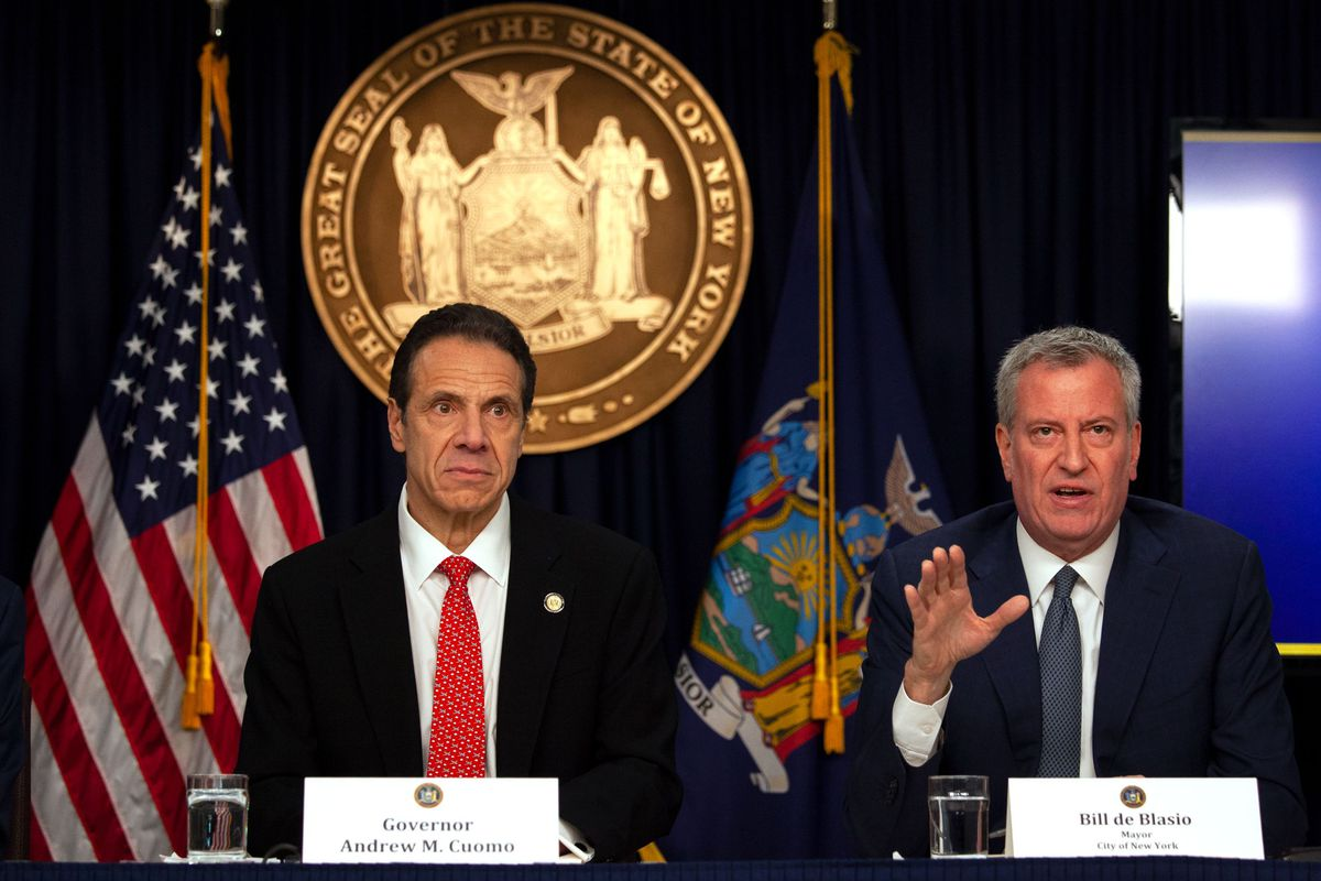 Mayor Bill de Blasio speaks about the Coronavirus at about a Midtown press conference with Governor Andrew Cuomo.