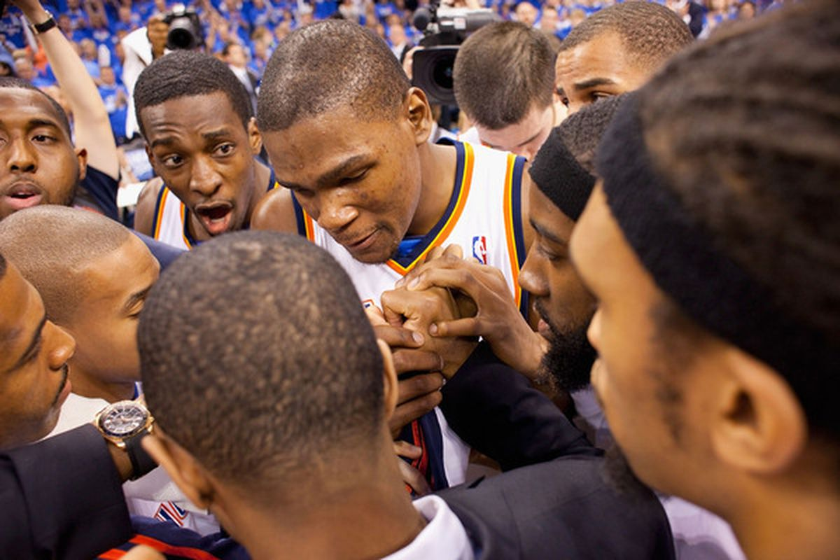 I have never seen Team Unity like this before in the NBA. 'Nuff said. (Photo by Dilip Vishwanat/Getty Images)