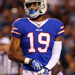 Aug 16, 2013; Orchard Park, NY, USA;  Buffalo Bills wide receiver DeMarco Sampson (19) during the second half against the Minnesota Vikings at Ralph Wilson Stadium.  Buffalo defeats Minnesota 20 to 16.