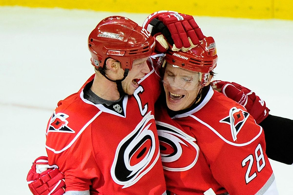 Alex Semin celebrates a goal with Eric Staal