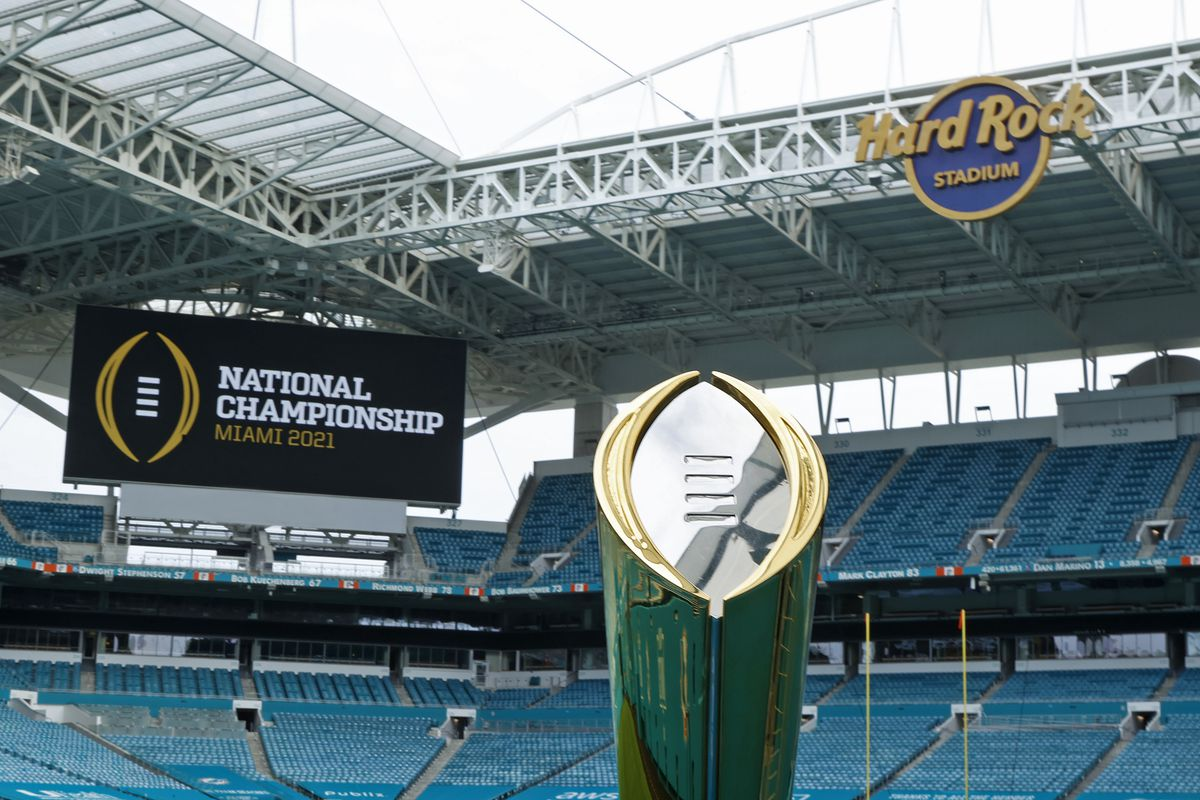 The College Football Playoff National Championship Trophy is displayed at Hard Rock Stadium on November 11, 2020 in Miami Gardens, Florida. The Championship game will be played at Hard Rock Stadium on January 11, 2021.