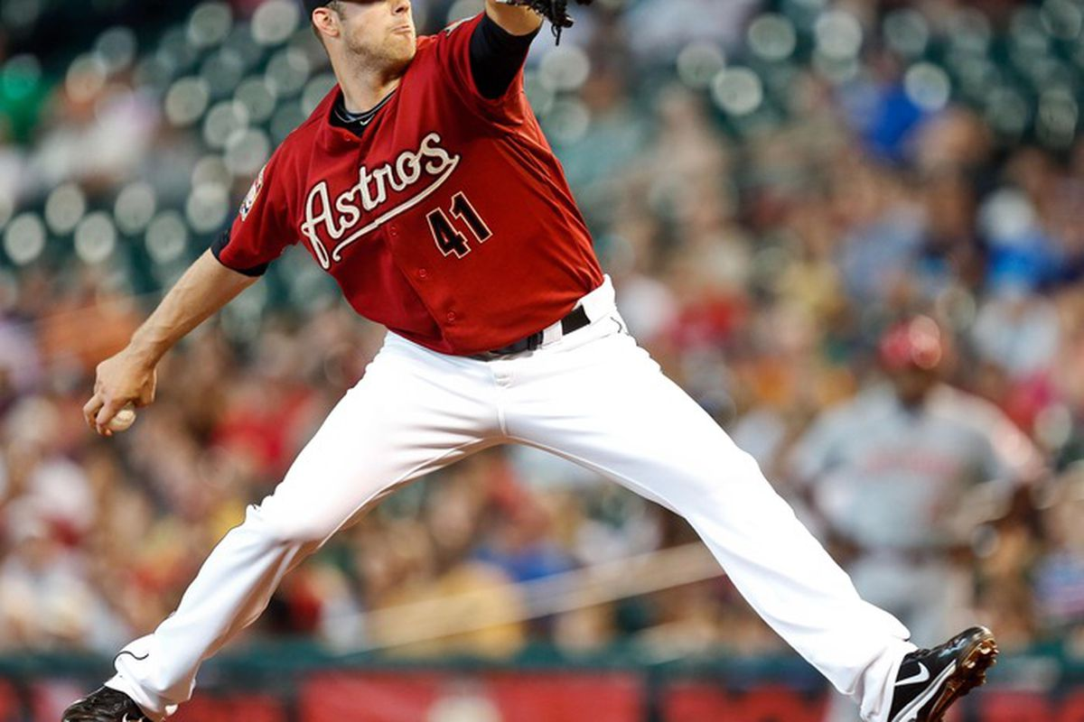 June 3, 2012; Houston, TX, USA; Houston Astros starting pitcher Jordan Lyles (41) pitches against the Cincinnati Reds during the fourth inning at Minute Maid Park. Mandatory Credit: Thomas Campbell-US PRESSWIRE