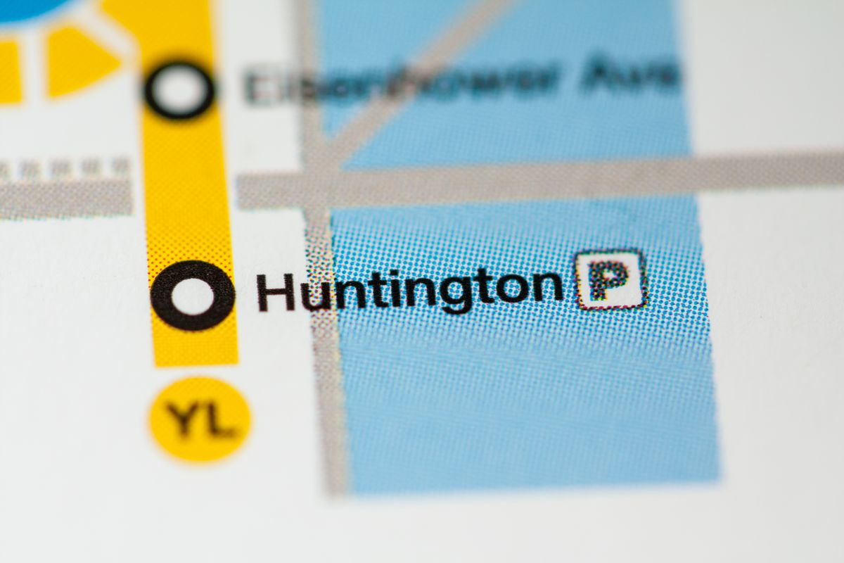 A transit map showing a station at the end of a train line.