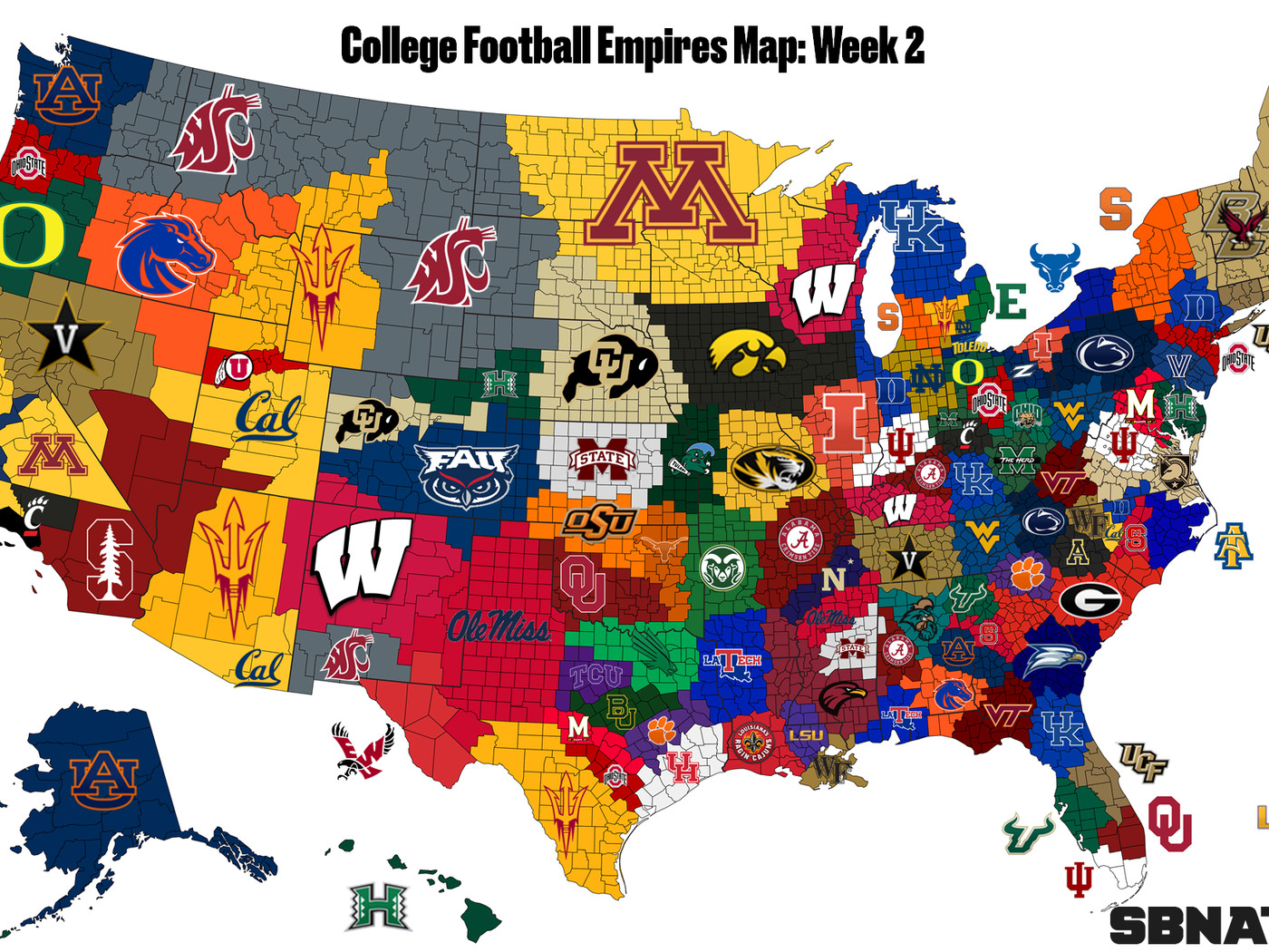 Map Of Colleges College Football Empires Map 2018, updated after Week 2   SBNation.com