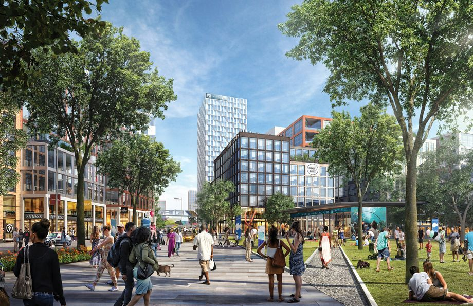 A CIM Group rendering shows a pedestrian-friendly environment surrounded by new buildings and green space.