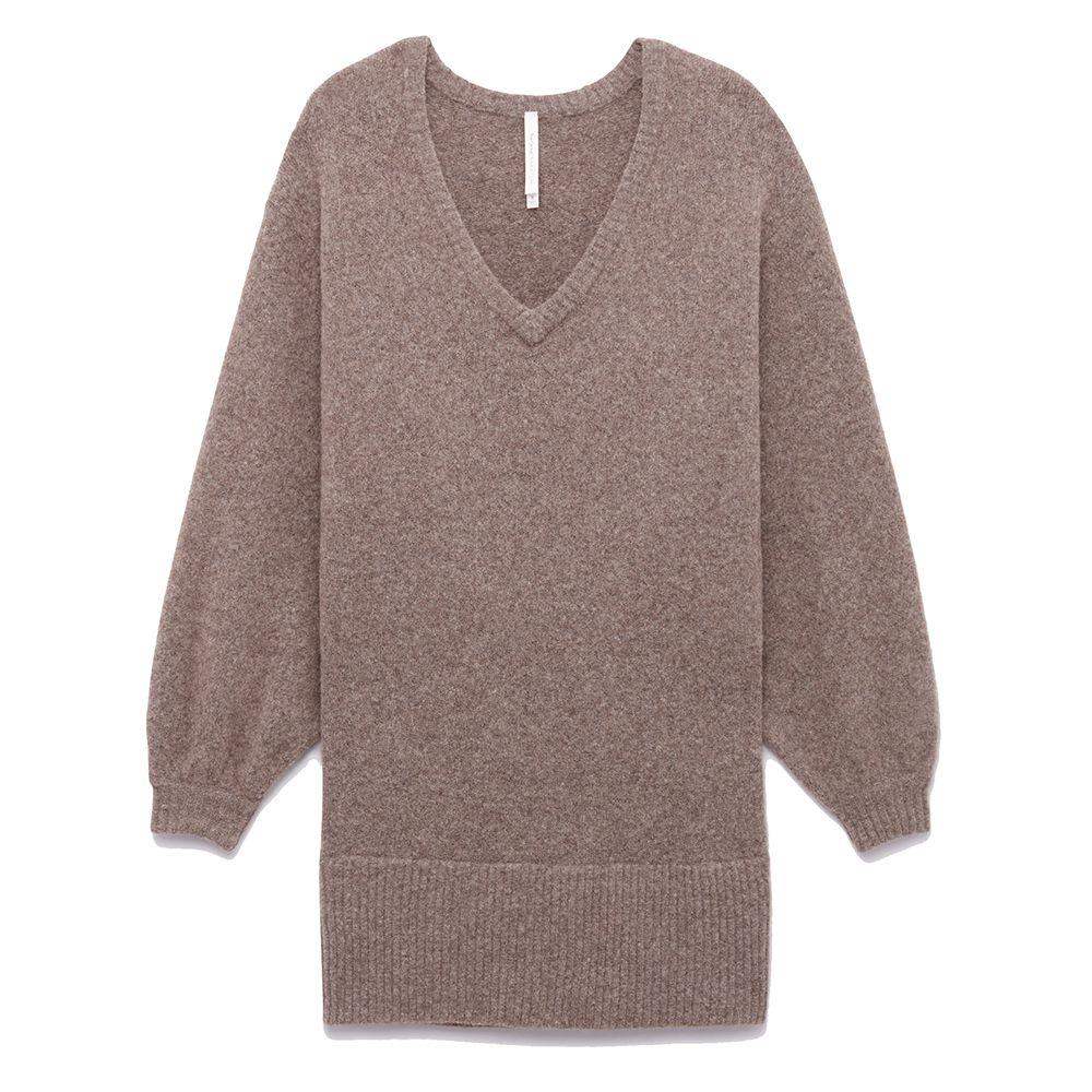 beige balloon sleeve sweater dress