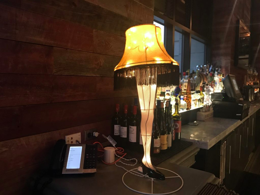 lamp with a leg for a base
