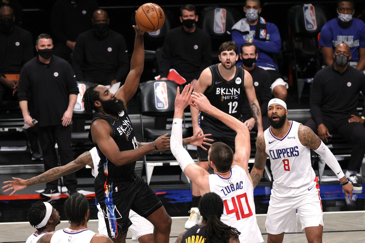 James Harden #13 of the Brooklyn Nets shoots as Ivica Zubac #40 of the LA Clippers defends during the second half at Barclays Center on February 02, 2021 in the Brooklyn borough of New York City. The Nets won 124-120.
