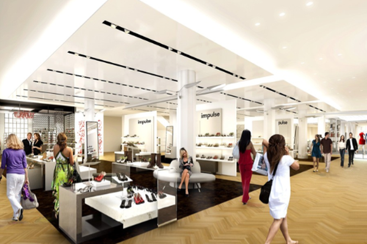 """Rendering of the new shoe department, image via <a href=""""http://www.wwd.com/retail-news/department-stores/macys-plots-400m-revamp-of-herald-square-5344810/slideshow/5344812#/slideshow/article/5344810/5344812"""">WWD</a>"""