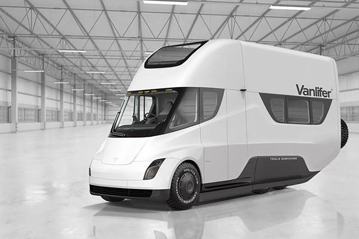 Rendering of white van with Tesla design.