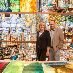 """Orem philanthropists Marc and Deborah Bingham donated $1.5 million to Utah Valley University's 200-foot-long stained glass window installation depicting the history of humanity. A Guardian UK reporter called the work """"one of the most spectacular stained glass windows made in the past century."""""""