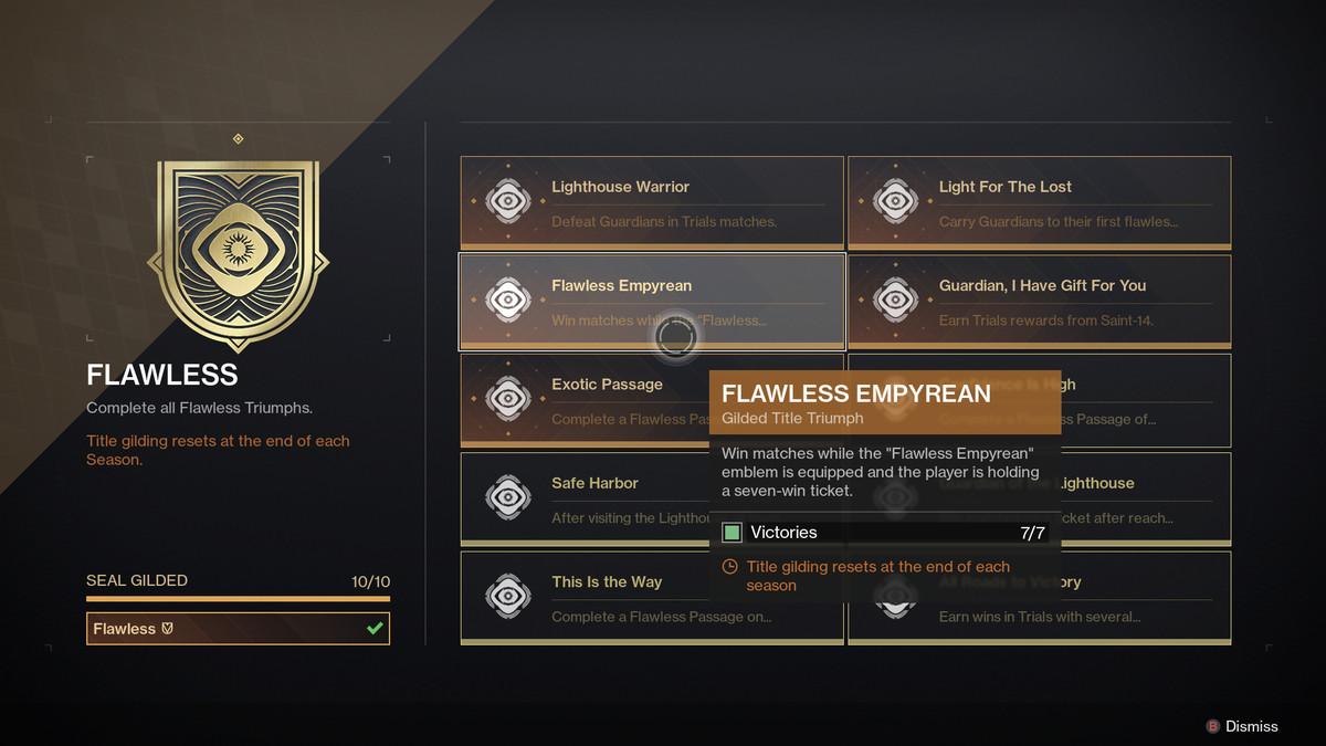 Destiny 2 Seal gilding UI