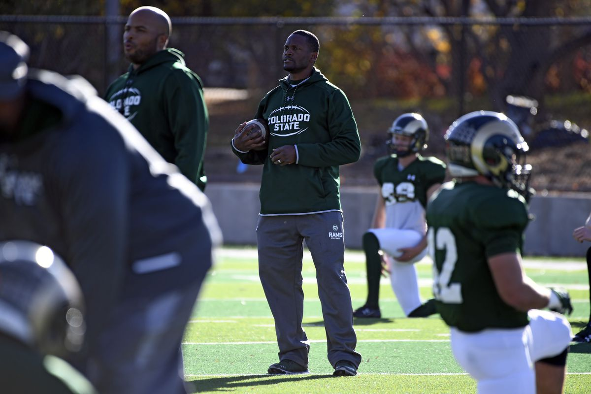 CSU receivers coach Alvis Whitted during practice...