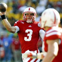 Nebraska quarterback Taylor Martinez (3) throws a pass to C.J. Zimmerer (31) during their NCAA college football game against Southern Mississippi, Saturday, Sept. 1, 2012, in Lincoln, Neb.