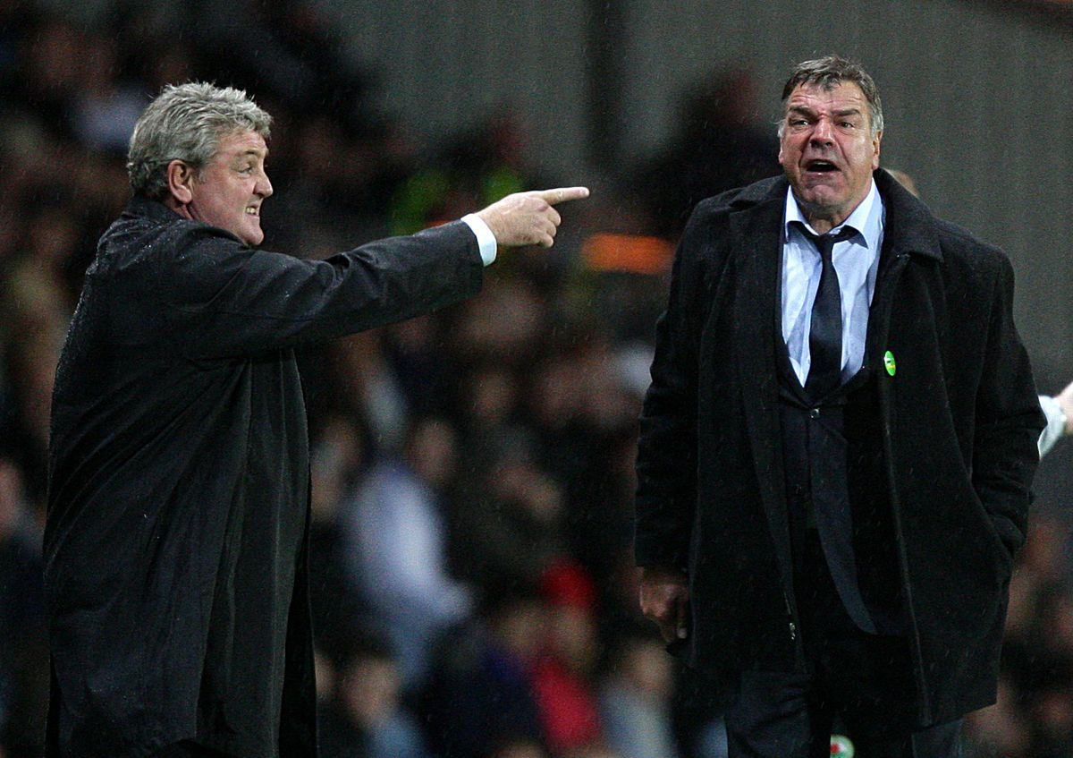 Steve Bruce points towards the pitch whilst Sam Allardyce shouts down the touchline.