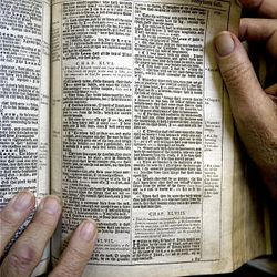 A copy of the Holy Bible given to Wm. James Mortimer by the Cambridge Press in England.