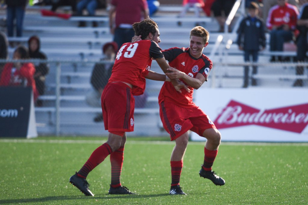 USL Photo - TFC II's Fraser & Boskovic revel in win over the Charleston Battery on Saturday at the Ontario Soccer Centre