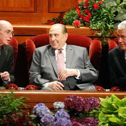 From left, President and First Counselor Henry B. Eyring, President Thomas S. Monson and President and Second Counselor Dieter F. Uchtdorf attend the General Relief Society Meeting at the Conference Center on Temple Square in Salt Lake City on Saturday, Sept. 29, 2012.