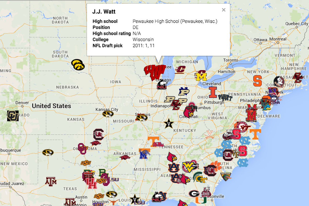 Map Where NFL Draft Firstrounders Who Werent Blue Chip Recruits - Us map of every college