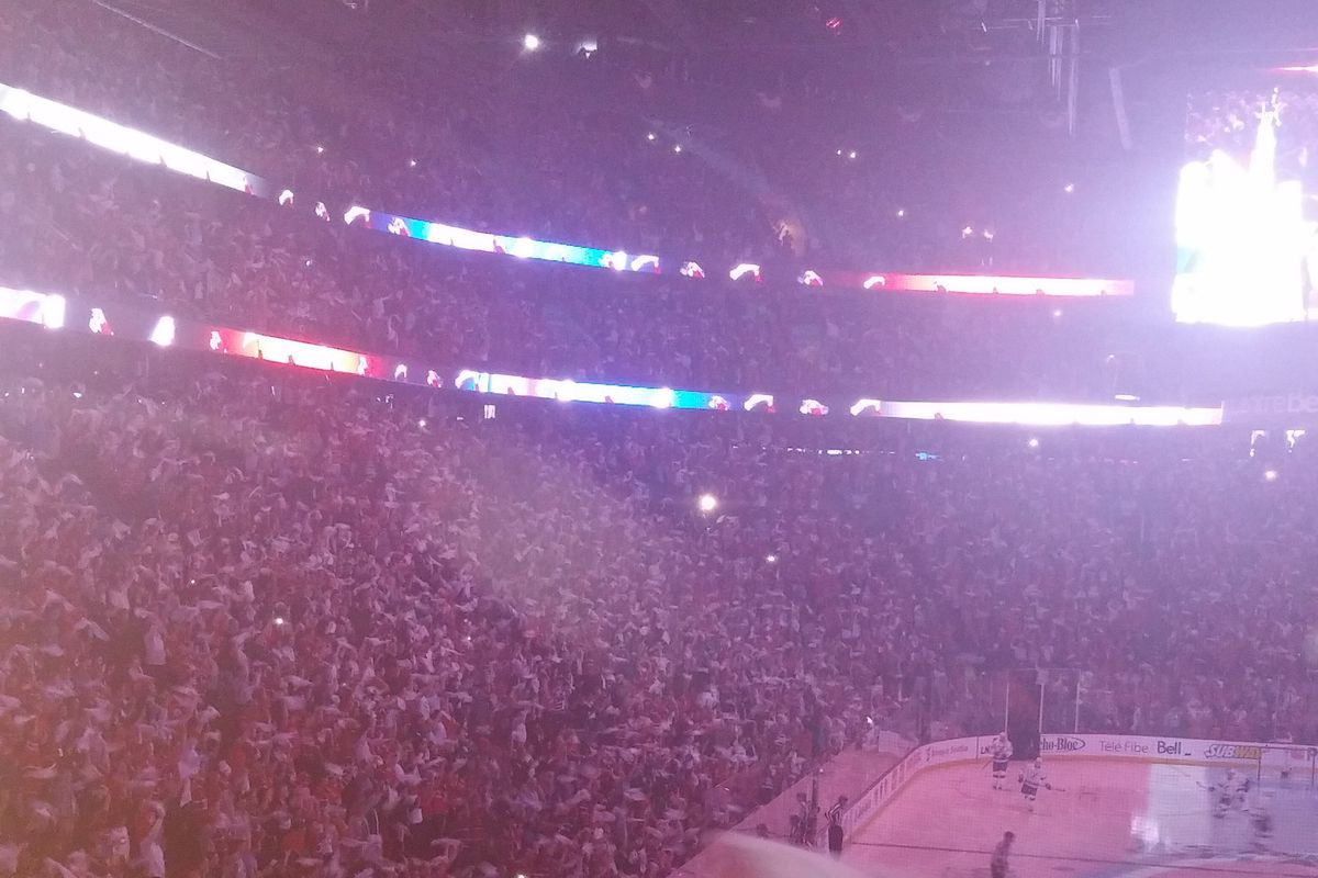 My view of the many, many, many Habs fans this past Saturday at the Bell Centre