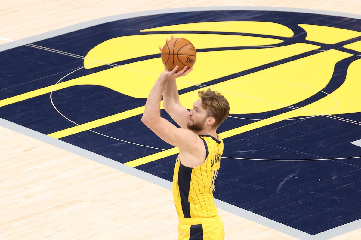 Domantas Sabonis #11 of the Indiana Pacers shoots the ball against the Philadelphia 76ers at Bankers Life Fieldhouse on May 11, 2021 in Indianapolis, Indiana.