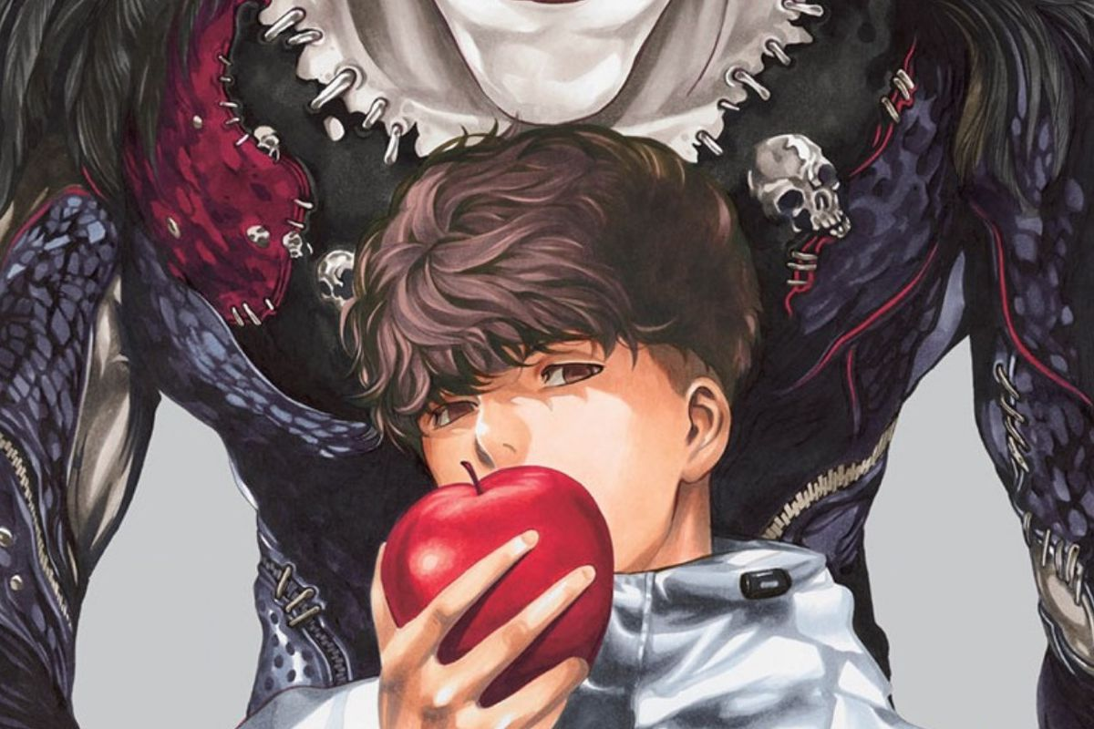 A young man holds an apple to his mouth while a monster looms behind him