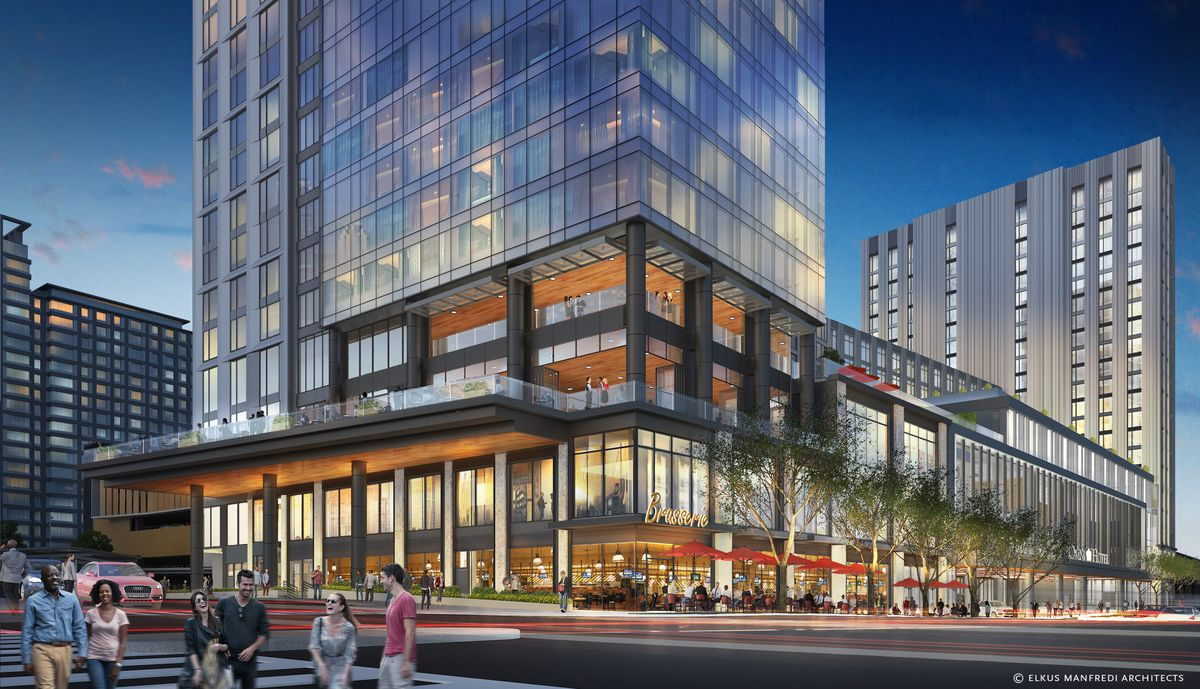 Rendering of a large, block-long hotel meeting the busy sidewalk.